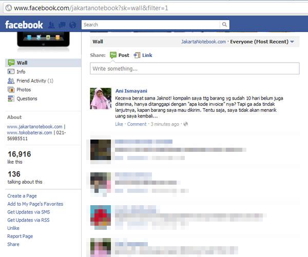 Mencoba menyapa di facebook.