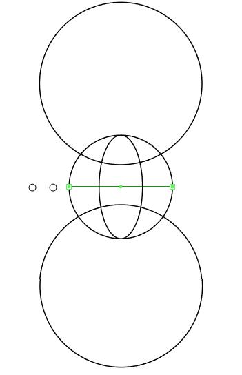 Buat dua lingkaran di atas dan bawah globe.