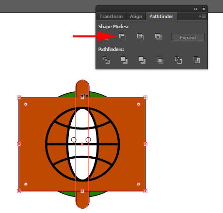 Potong bagian tengah rounded rectangle.