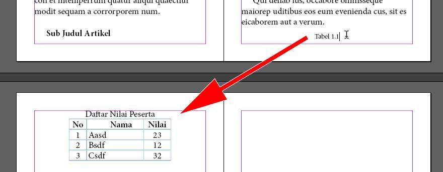 Contoh label tabel terpisah dari tabelnya.