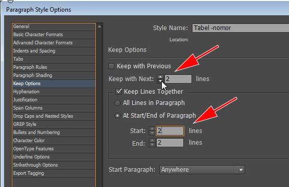 Aktifkan Keep di pilihan Paragraph Styles.